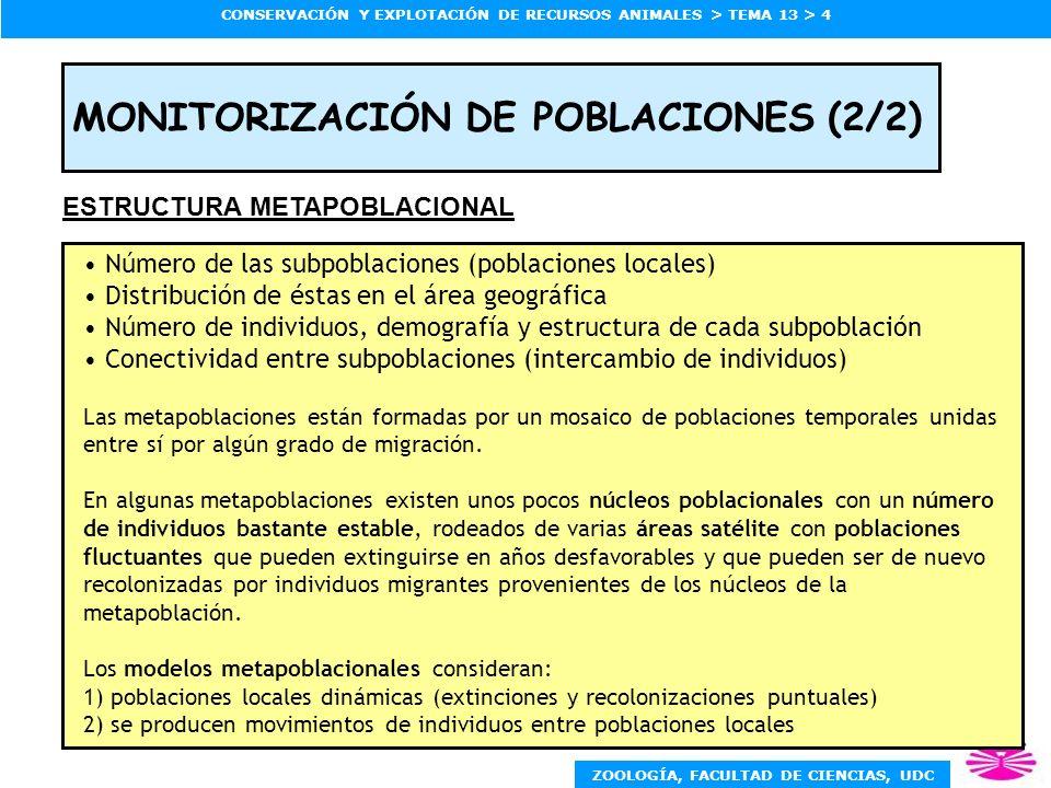 ZOOLOGÍA, FACULTAD DE CIENCIAS, UDC CONSERVACIÓN Y EXPLOTACIÓN DE RECURSOS ANIMALES > TEMA 13 > 4 MONITORIZACIÓN DE POBLACIONES (2/2) Número de las su