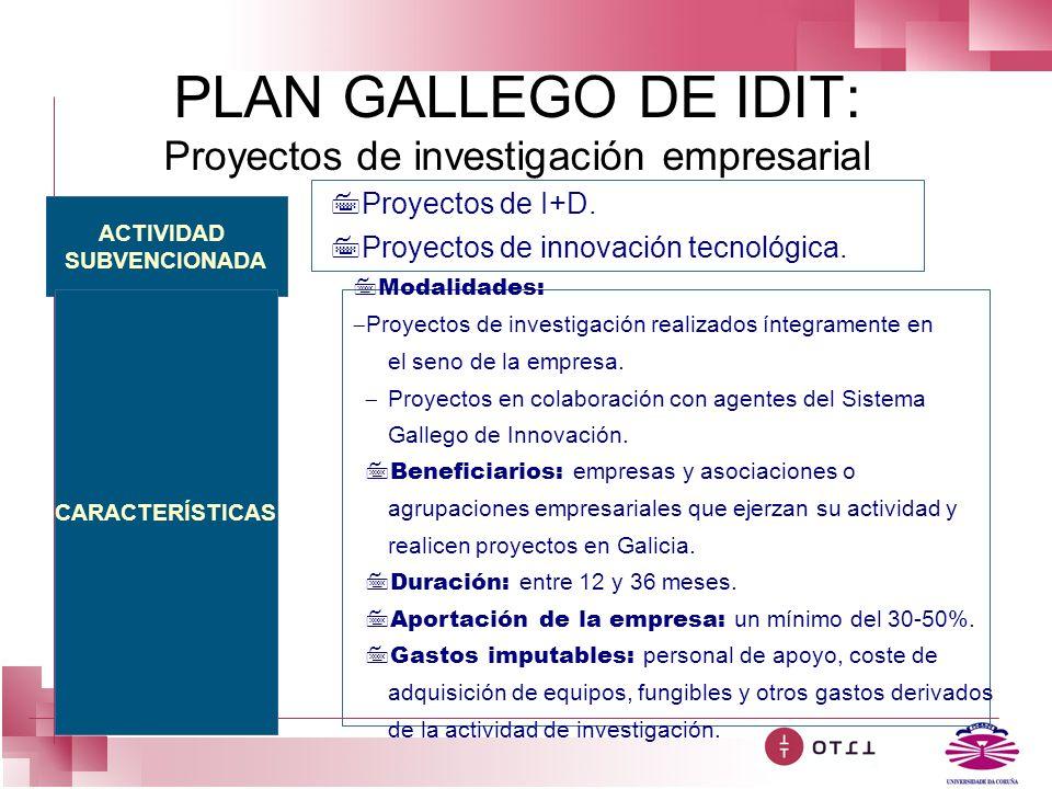 PLAN GALLEGO DE IDIT: Proyectos de investigación empresarial ACTIVIDAD SUBVENCIONADA CARACTERÍSTICAS 7Proyectos de I+D. 7Proyectos de innovación tecno