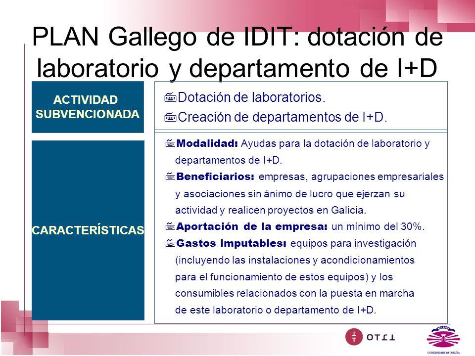 PLAN Gallego de IDIT: dotación de laboratorio y departamento de I+D ACTIVIDAD SUBVENCIONADA CARACTERÍSTICAS 7Dotación de laboratorios. 7Creación de de
