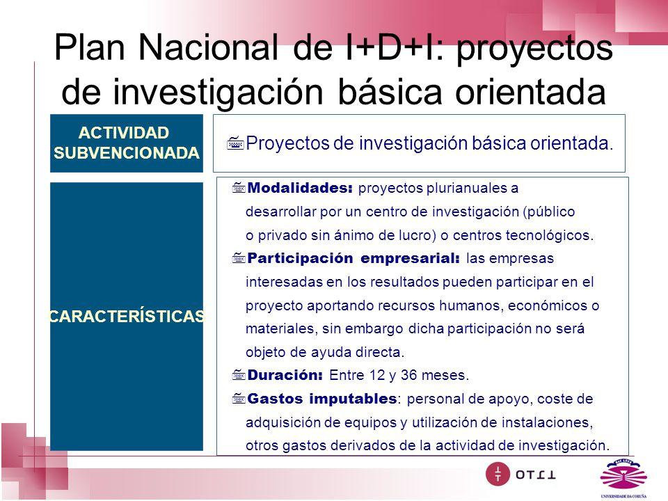 Plan Nacional de I+D+I: proyectos de investigación básica orientada ACTIVIDAD SUBVENCIONADA CARACTERÍSTICAS 7Proyectos de investigación básica orienta