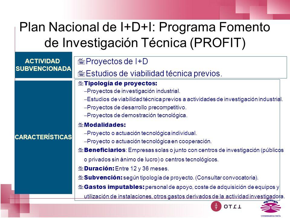 Plan Nacional de I+D+I: Programa Fomento de Investigación Técnica (PROFIT) ACTIVIDAD SUBVENCIONADA CARACTERÍSTICAS 7Proyectos de I+D 7Estudios de viab