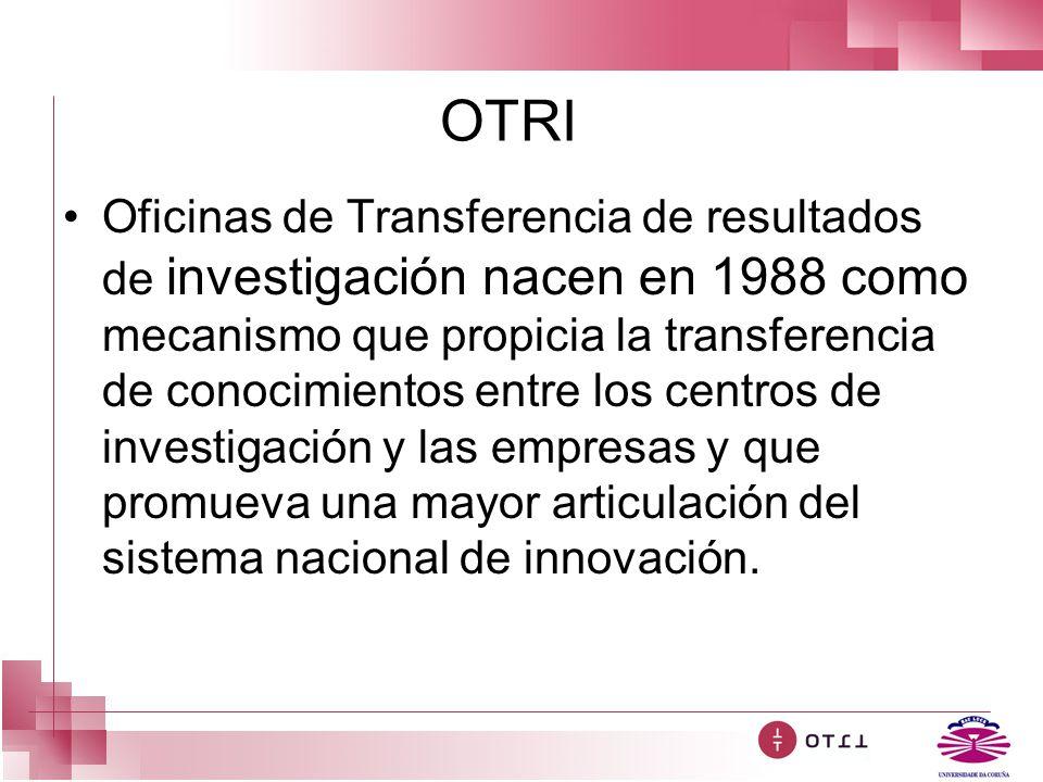 OTRI Oficinas de Transferencia de resultados de investigación nacen en 1988 como mecanismo que propicia la transferencia de conocimientos entre los ce