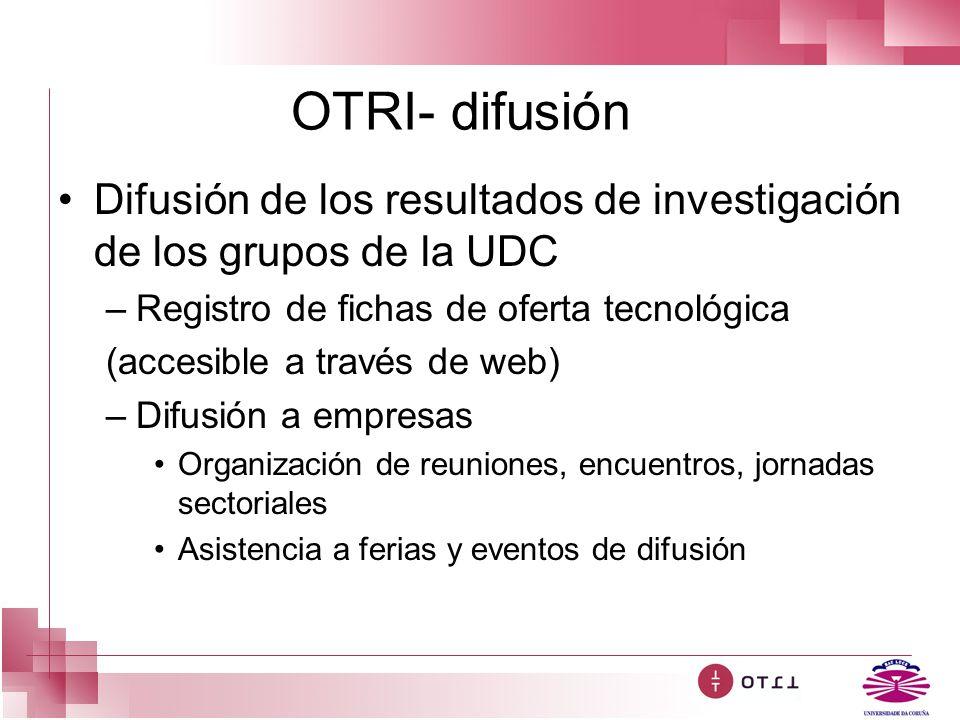 OTRI- difusión Difusión de los resultados de investigación de los grupos de la UDC –Registro de fichas de oferta tecnológica (accesible a través de we