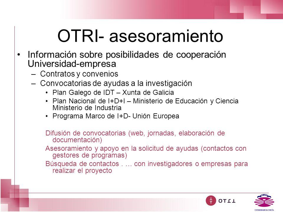 OTRI- asesoramiento Información sobre posibilidades de cooperación Universidad-empresa –Contratos y convenios –Convocatorias de ayudas a la investigac