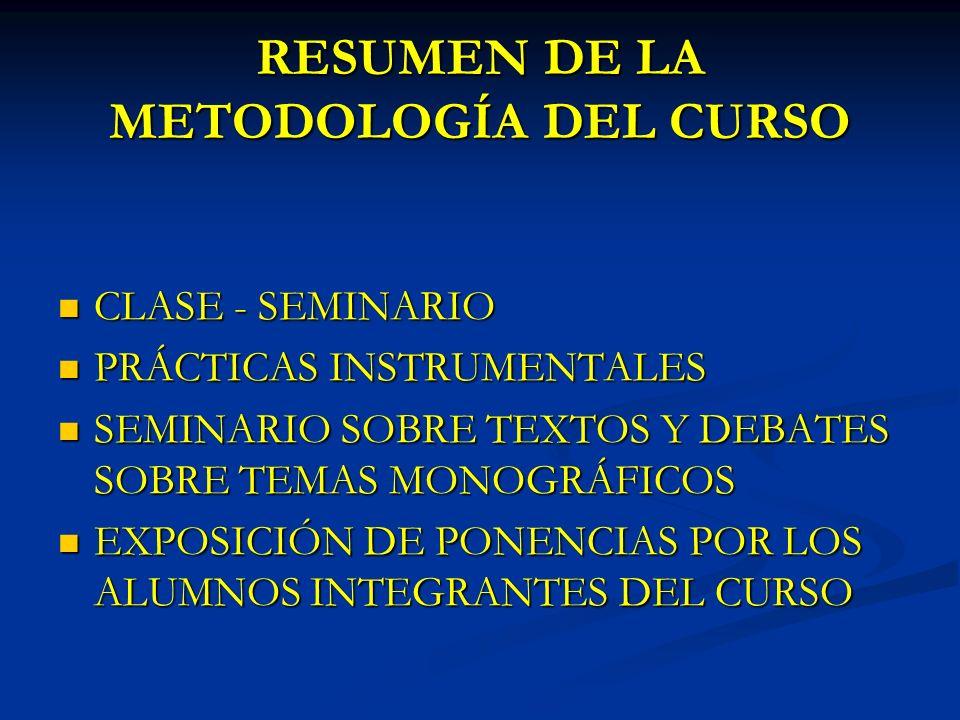 RESUMEN DE LA METODOLOGÍA DEL CURSO CLASE - SEMINARIO CLASE - SEMINARIO PRÁCTICAS INSTRUMENTALES PRÁCTICAS INSTRUMENTALES SEMINARIO SOBRE TEXTOS Y DEBATES SOBRE TEMAS MONOGRÁFICOS SEMINARIO SOBRE TEXTOS Y DEBATES SOBRE TEMAS MONOGRÁFICOS EXPOSICIÓN DE PONENCIAS POR LOS ALUMNOS INTEGRANTES DEL CURSO EXPOSICIÓN DE PONENCIAS POR LOS ALUMNOS INTEGRANTES DEL CURSO
