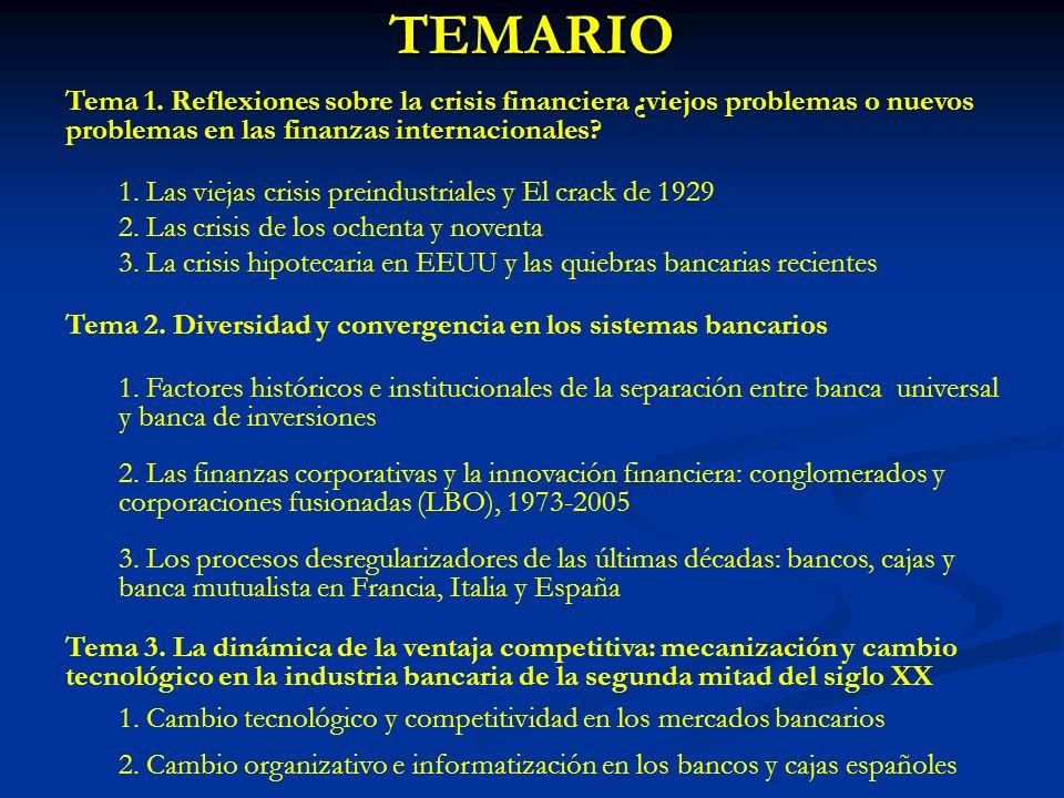 TEMARIO Tema 1. Reflexiones sobre la crisis financiera ¿viejos problemas o nuevos problemas en las finanzas internacionales? 1. Las viejas crisis prei