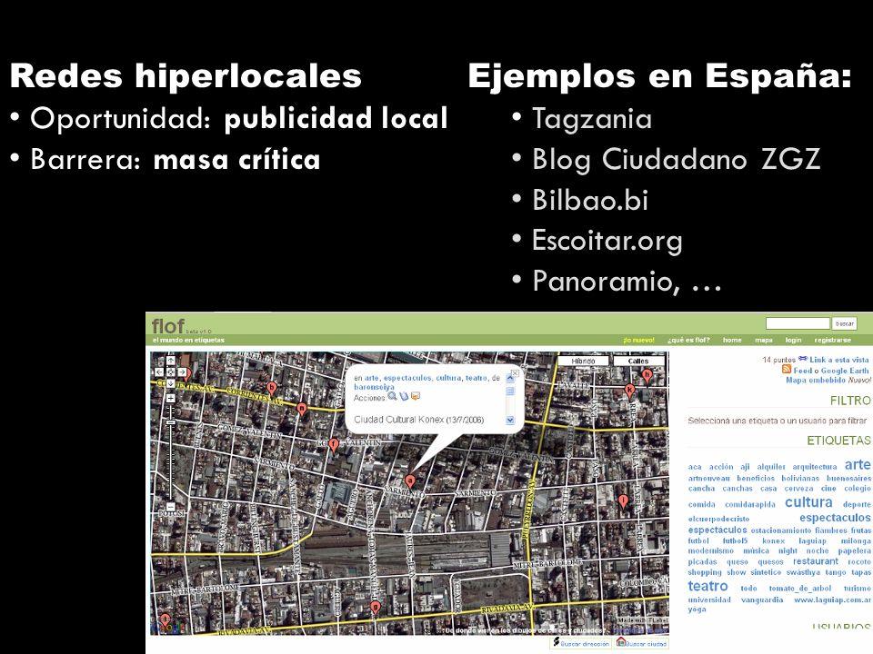 Redes hiperlocales Oportunidad: publicidad local Barrera: masa crítica Ejemplos en España: Tagzania Blog Ciudadano ZGZ Bilbao.bi Escoitar.org Panoramio, …