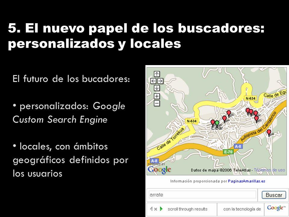 5. El nuevo papel de los buscadores: personalizados y locales El futuro de los bucadores: personalizados: Google Custom Search Engine locales, con ámb