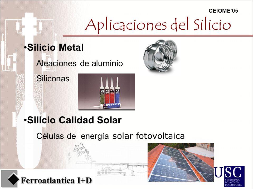 CEIOME 05 Aplicaciones del Silicio Silicio Metal Aleaciones de aluminio Siliconas Silicio Calidad Solar Células de energía solar fotovoltaica