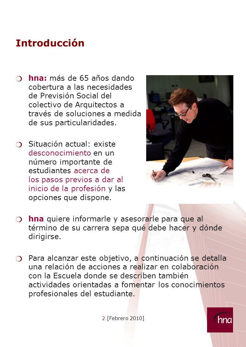 2 [Febrero 2010] Introducción hna: más de 65 años dando cobertura a las necesidades de Previsión Social del colectivo de Arquitectos a través de soluciones a medida de sus particularidades.