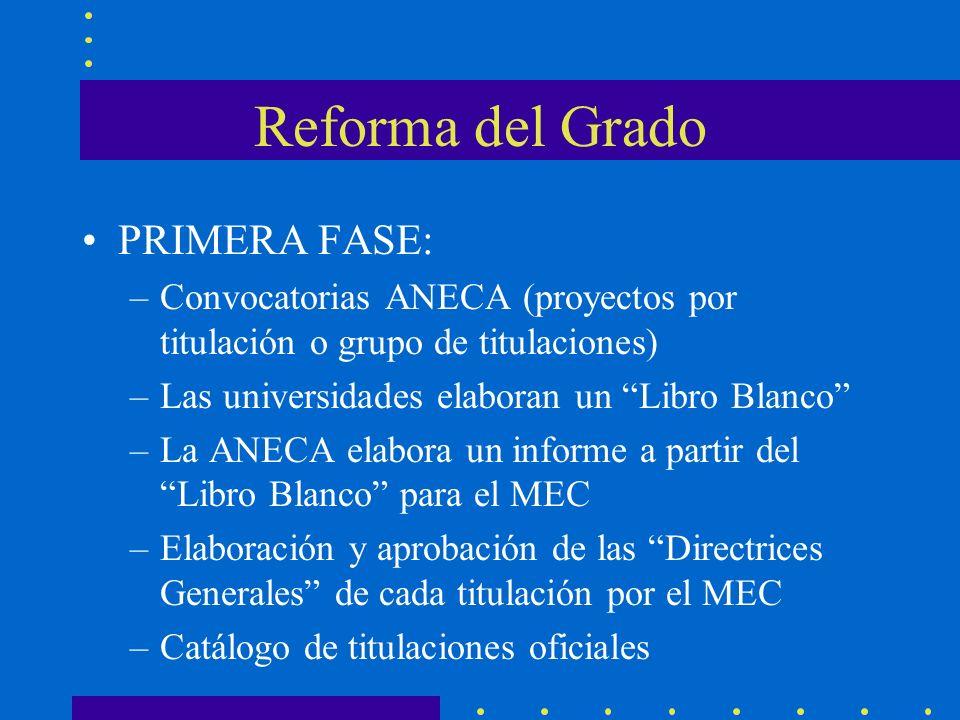 Reforma del Grado PRIMERA FASE: –Convocatorias ANECA (proyectos por titulación o grupo de titulaciones) –Las universidades elaboran un Libro Blanco –L