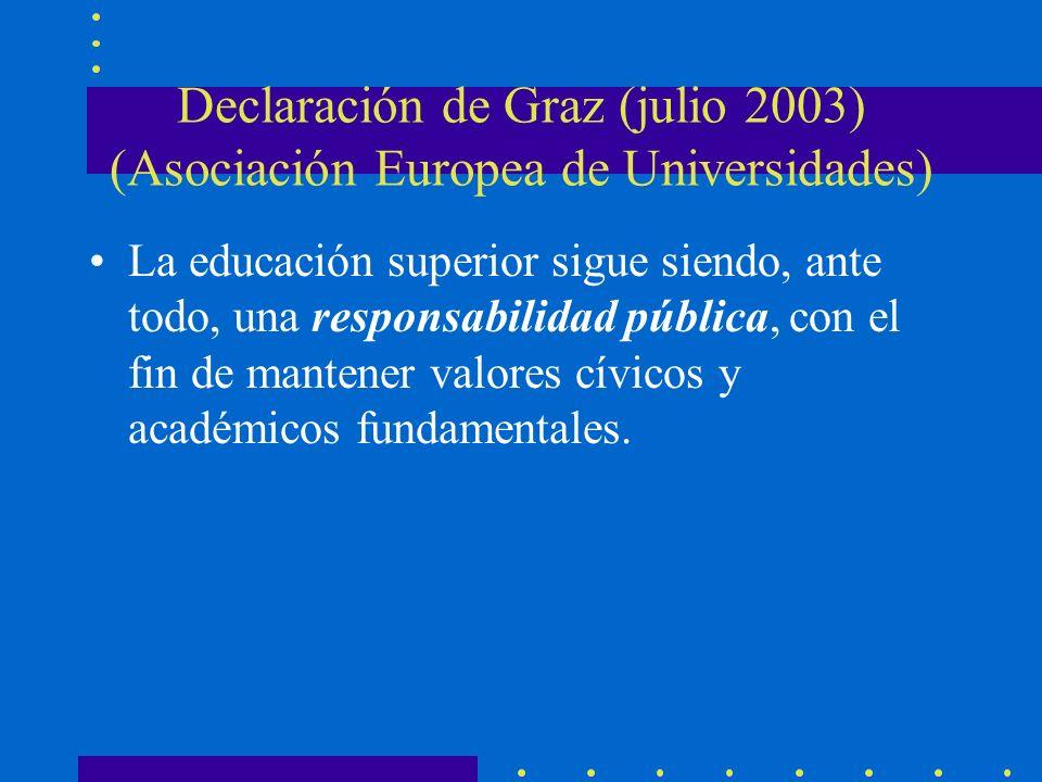 Declaración de Graz (julio 2003) (Asociación Europea de Universidades) La educación superior sigue siendo, ante todo, una responsabilidad pública, con el fin de mantener valores cívicos y académicos fundamentales.