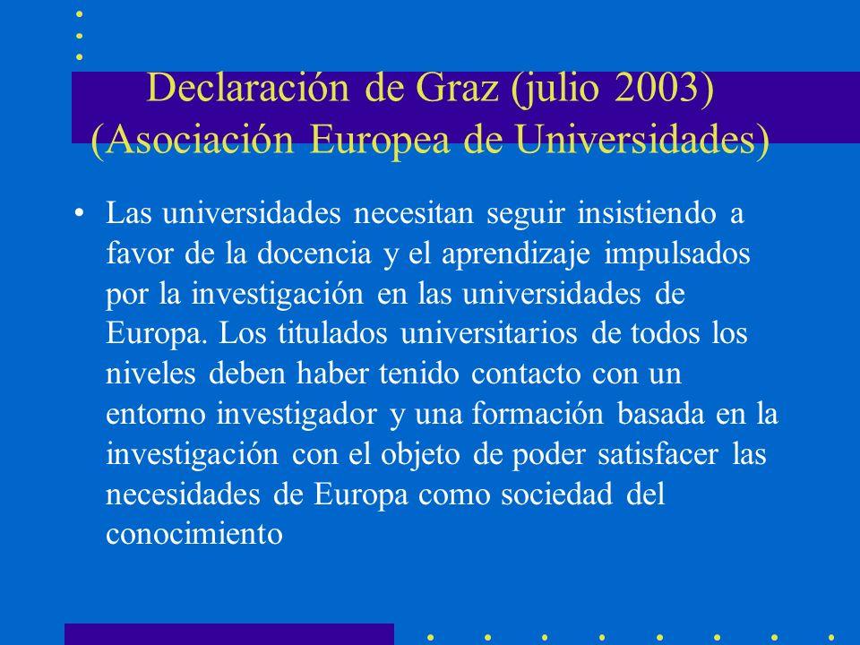 Declaración de Graz (julio 2003) (Asociación Europea de Universidades) Las universidades necesitan seguir insistiendo a favor de la docencia y el aprendizaje impulsados por la investigación en las universidades de Europa.