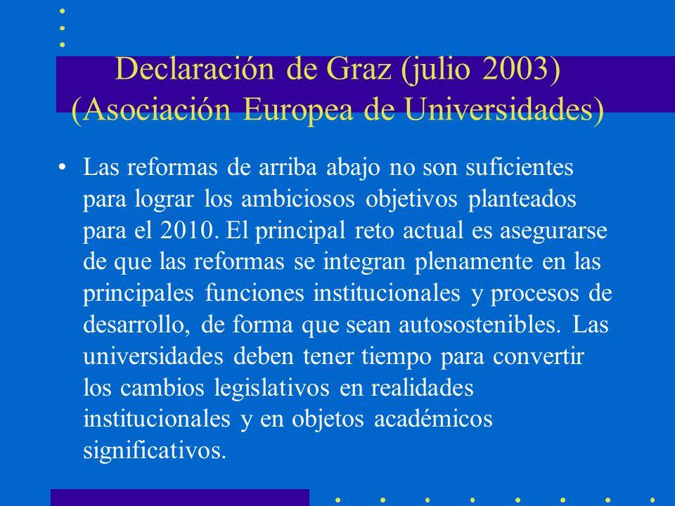 Declaración de Graz (julio 2003) (Asociación Europea de Universidades) Las reformas de arriba abajo no son suficientes para lograr los ambiciosos objetivos planteados para el 2010.
