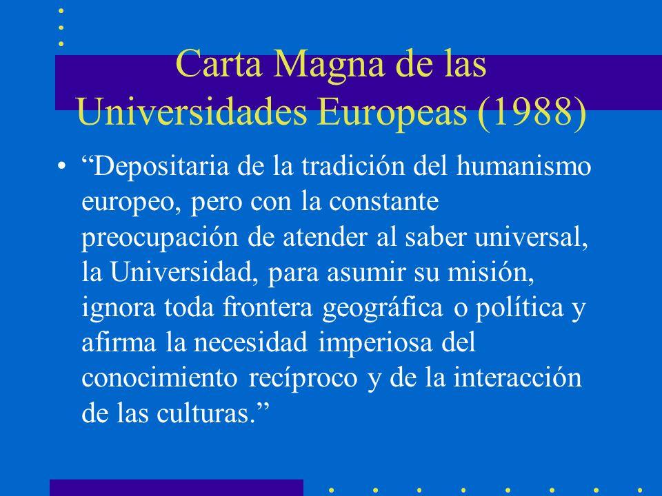 Carta Magna de las Universidades Europeas (1988) Depositaria de la tradición del humanismo europeo, pero con la constante preocupación de atender al s