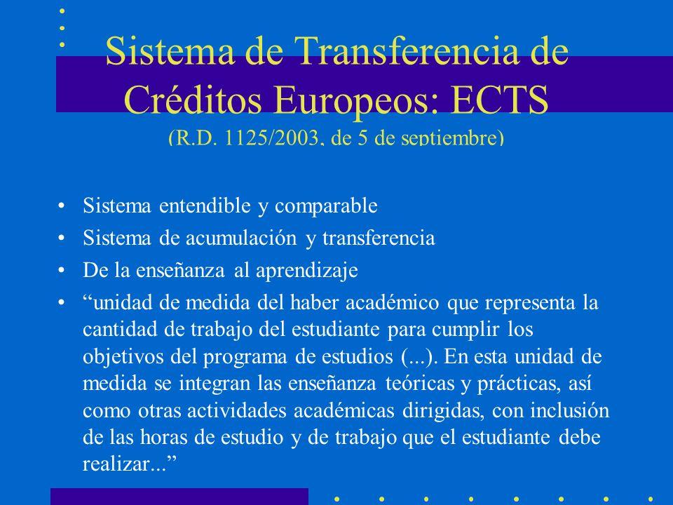 Sistema de Transferencia de Créditos Europeos: ECTS (R.D. 1125/2003, de 5 de septiembre) Sistema entendible y comparable Sistema de acumulación y tran