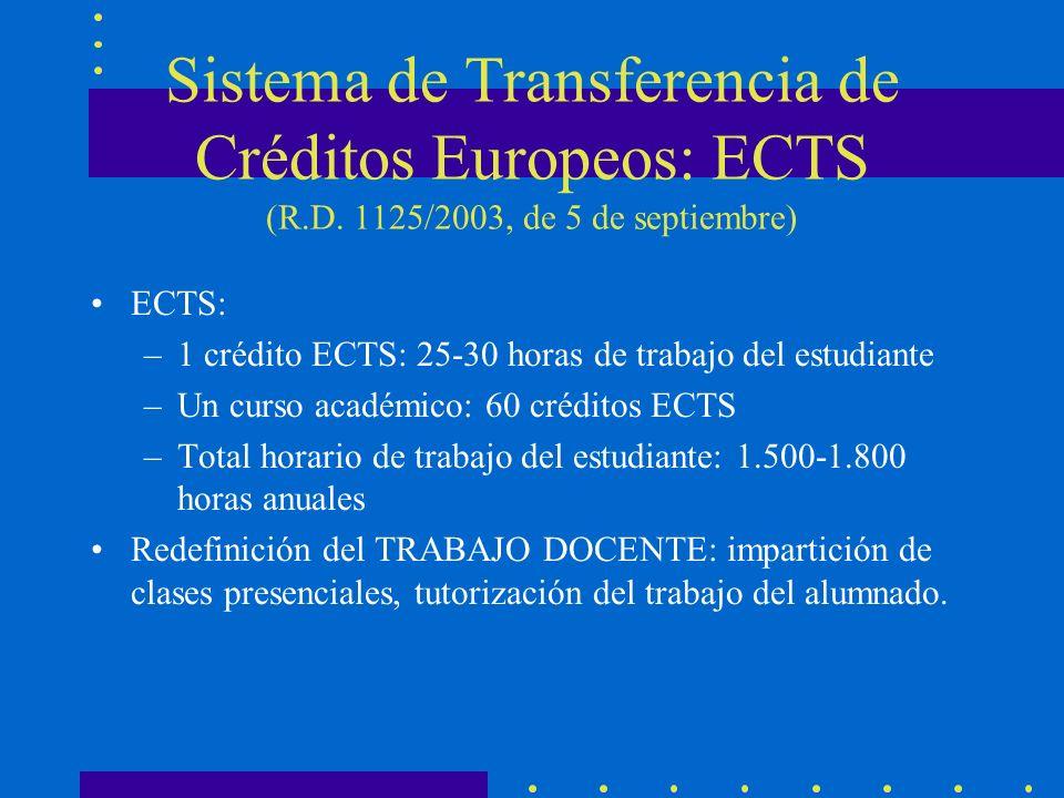 Sistema de Transferencia de Créditos Europeos: ECTS (R.D. 1125/2003, de 5 de septiembre) ECTS: –1 crédito ECTS: 25-30 horas de trabajo del estudiante