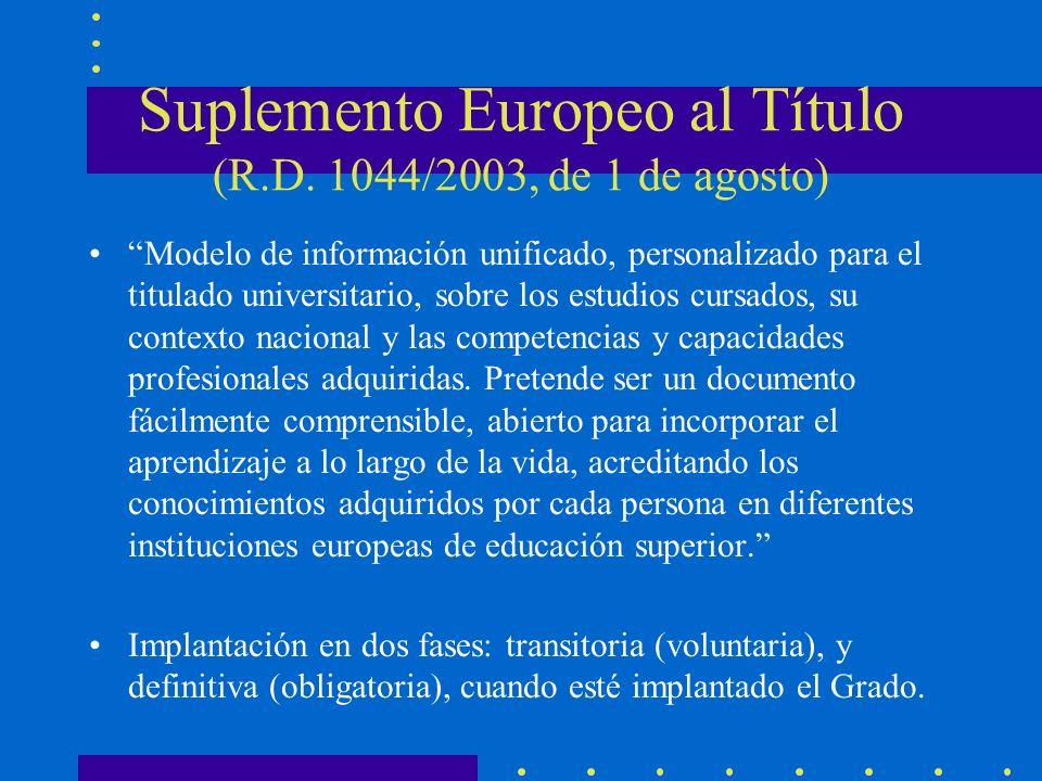 Suplemento Europeo al Título (R.D. 1044/2003, de 1 de agosto) Modelo de información unificado, personalizado para el titulado universitario, sobre los