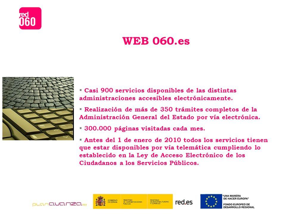 WEB 060.es Casi 900 servicios disponibles de las distintas administraciones accesibles electrónicamente.