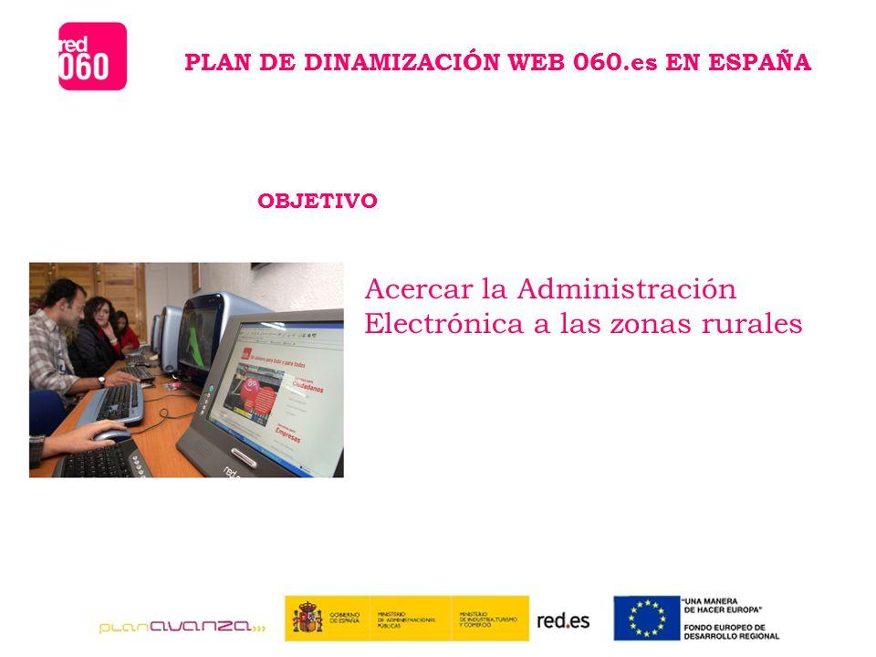 PLAN DE DINAMIZACIÓN WEB 060.es EN ESPAÑA OBJETIVO Acercar la Administración Electrónica a las zonas rurales
