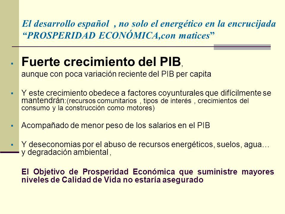 Fuerte crecimiento del PIB, aunque con poca variación reciente del PIB per capita Y este crecimiento obedece a factores coyunturales que difícilmente se mantendrán :(recursos comunitarios, tipos de interés, crecimientos del consumo y la construcción como motores) Acompañado de menor peso de los salarios en el PIB Y deseconomias por el abuso de recursos energéticos, suelos, agua… y degradación ambiental, El Objetivo de Prosperidad Económica que suministre mayores niveles de Calidad de Vida no estaría asegurado El desarrollo español, no solo el energético en la encrucijada PROSPERIDAD ECONÓMICA,con matices