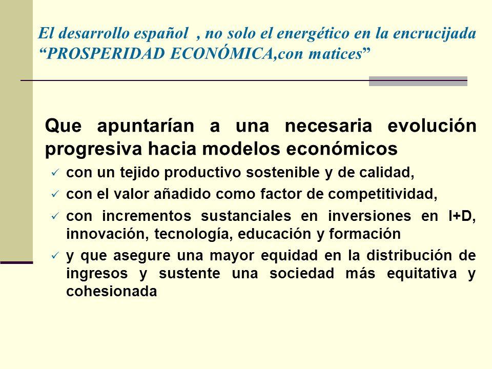Que apuntarían a una necesaria evolución progresiva hacia modelos económicos con un tejido productivo sostenible y de calidad, con el valor añadido como factor de competitividad, con incrementos sustanciales en inversiones en I+D, innovación, tecnología, educación y formación y que asegure una mayor equidad en la distribución de ingresos y sustente una sociedad más equitativa y cohesionada