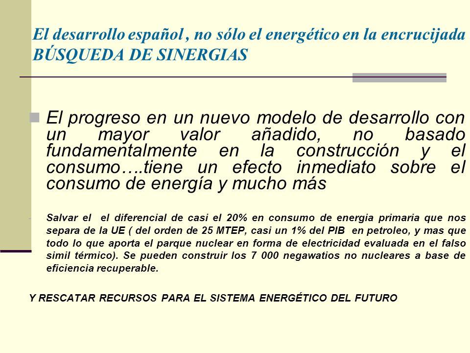 El progreso en un nuevo modelo de desarrollo con un mayor valor añadido, no basado fundamentalmente en la construcción y el consumo….tiene un efecto inmediato sobre el consumo de energía y mucho más - Salvar el el diferencial de casi el 20% en consumo de energia primaria que nos separa de la UE ( del orden de 25 MTEP, casi un 1% del PIB en petroleo, y mas que todo lo que aporta el parque nuclear en forma de electricidad evaluada en el falso simil térmico).