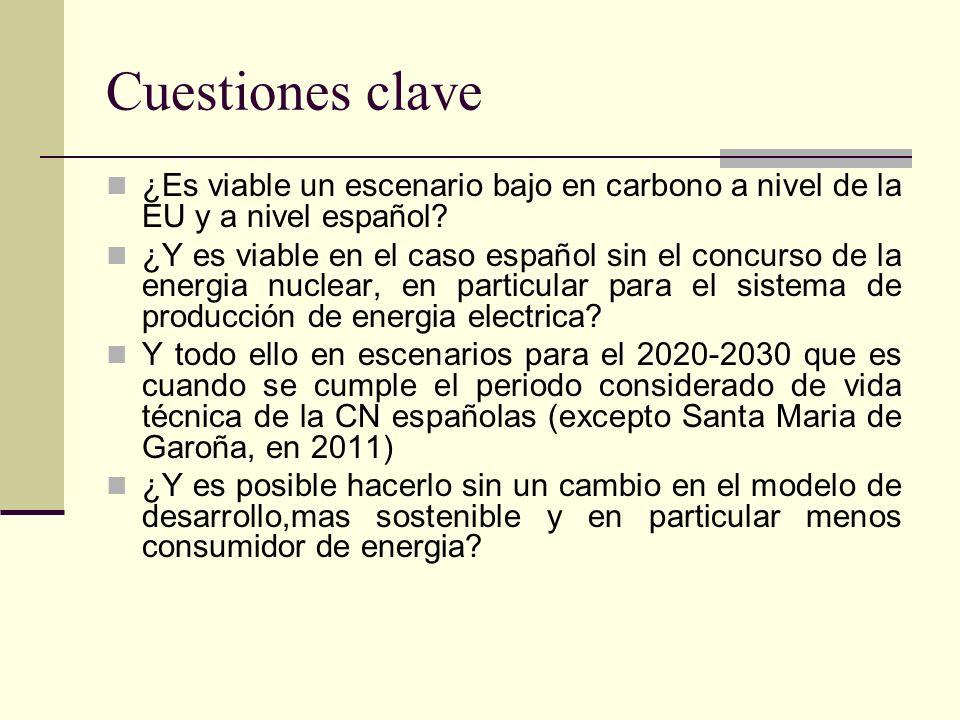 Cuestiones clave ¿Es viable un escenario bajo en carbono a nivel de la EU y a nivel español.