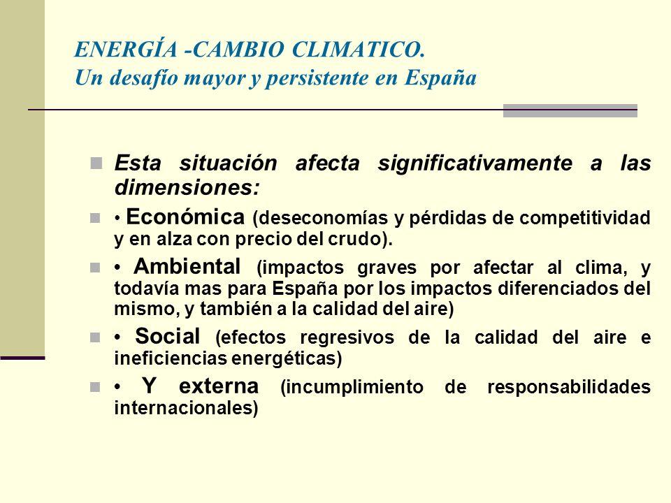 Esta situación afecta significativamente a las dimensiones: Económica (deseconomías y pérdidas de competitividad y en alza con precio del crudo).