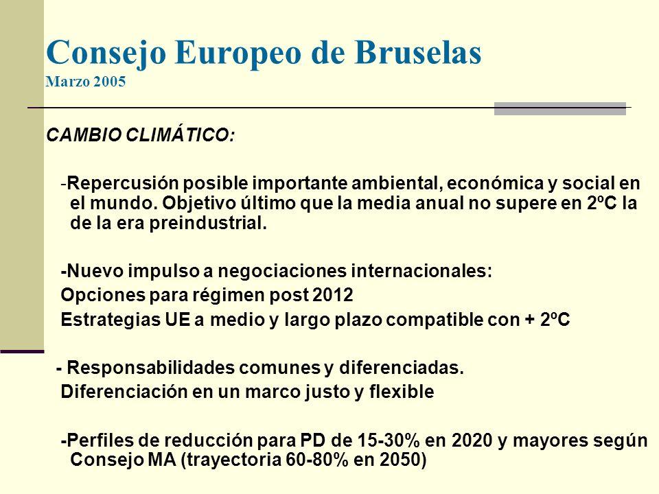 Consejo Europeo de Bruselas Marzo 2005 CAMBIO CLIMÁTICO: -Repercusión posible importante ambiental, económica y social en el mundo.