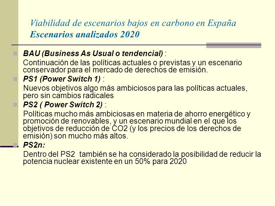 Viabilidad de escenarios bajos en carbono en España Escenarios analizados 2020 BAU (Business As Usual o tendencial) : Continuación de las políticas actuales o previstas y un escenario conservador para el mercado de derechos de emisión.