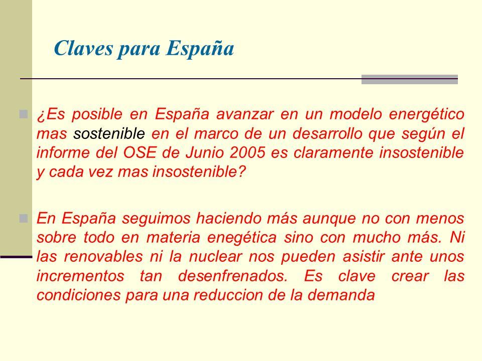 Claves para España ¿Es posible en España avanzar en un modelo energético mas sostenible en el marco de un desarrollo que según el informe del OSE de Junio 2005 es claramente insostenible y cada vez mas insostenible.