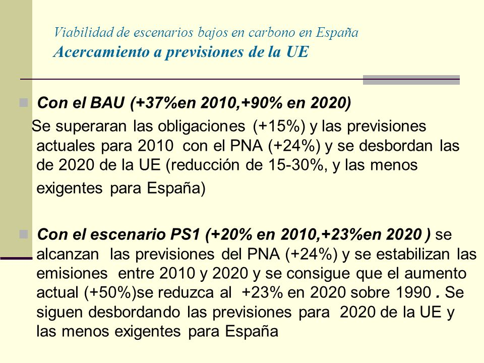 Viabilidad de escenarios bajos en carbono en España Acercamiento a previsiones de la UE Con el BAU (+37%en 2010,+90% en 2020) Se superaran las obligaciones (+15%) y las previsiones actuales para 2010 con el PNA (+24%) y se desbordan las de 2020 de la UE (reducción de 15-30%, y las menos exigentes para España) Con el escenario PS1 (+20% en 2010,+23%en 2020 ) se alcanzan las previsiones del PNA (+24%) y se estabilizan las emisiones entre 2010 y 2020 y se consigue que el aumento actual (+50%)se reduzca al +23% en 2020 sobre 1990.