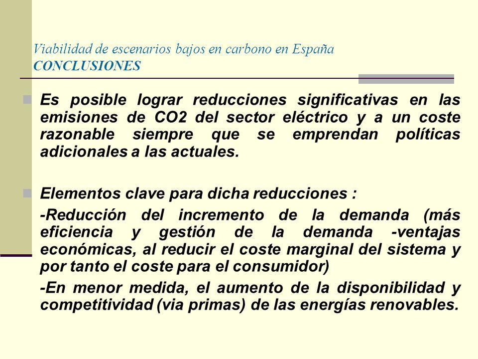 Viabilidad de escenarios bajos en carbono en España CONCLUSIONES Es posible lograr reducciones significativas en las emisiones de CO2 del sector eléctrico y a un coste razonable siempre que se emprendan políticas adicionales a las actuales.