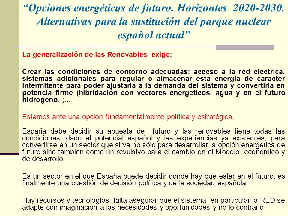 Opciones energéticas de futuro.Horizontes 2020-2030.