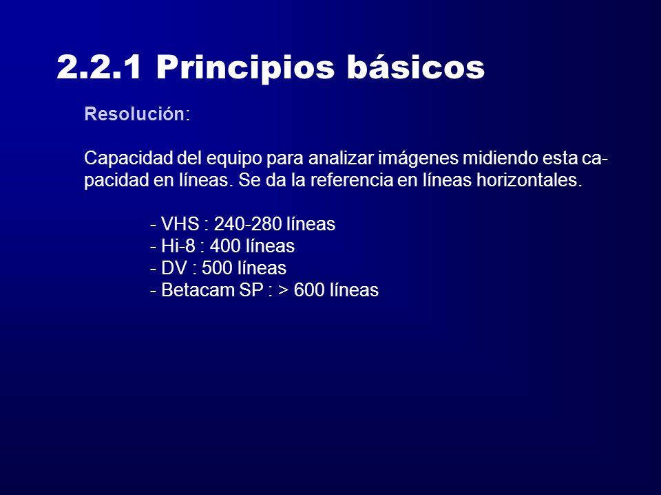 2.2.1 Principios básicos Resolución: Capacidad del equipo para analizar imágenes midiendo esta ca- pacidad en líneas. Se da la referencia en líneas ho