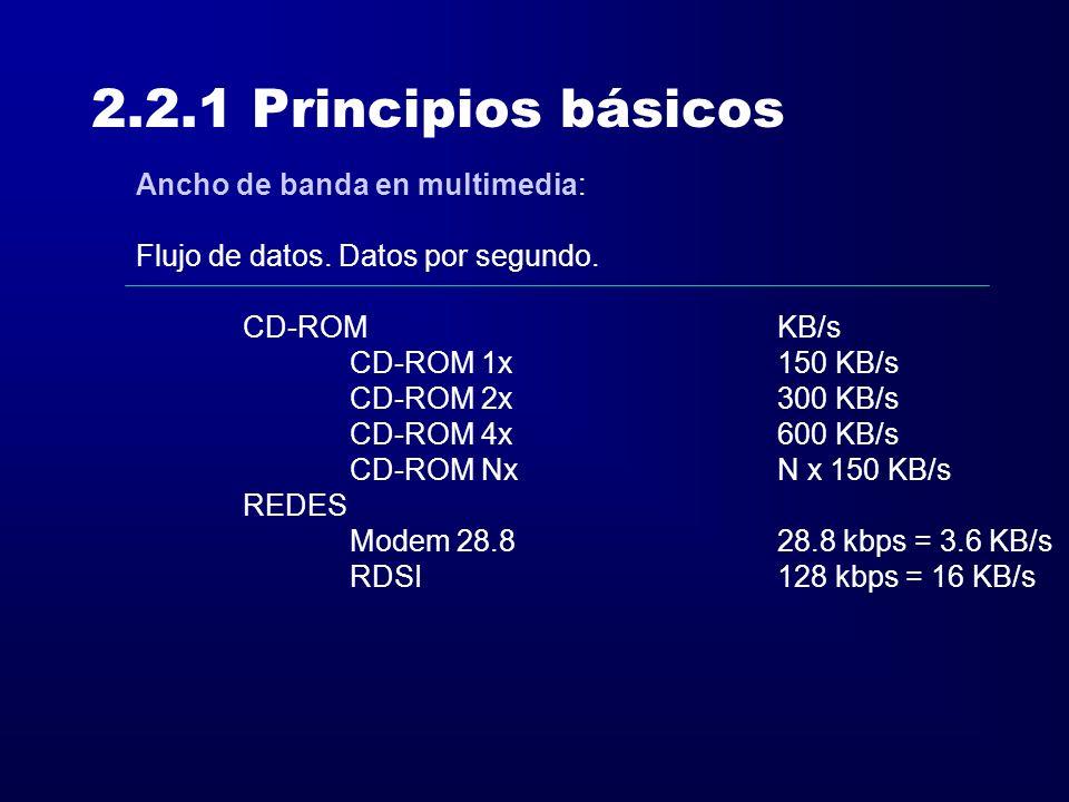 2.2.1 Principios básicos Ancho de banda en multimedia: Flujo de datos. Datos por segundo. CD-ROMKB/s CD-ROM 1x150 KB/s CD-ROM 2x300 KB/s CD-ROM 4x600