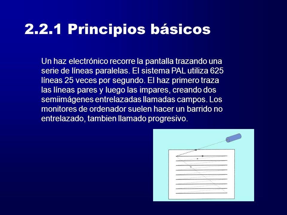 2.2.1 Principios básicos Un haz electrónico recorre la pantalla trazando una serie de líneas paralelas. El sistema PAL utiliza 625 líneas 25 veces por