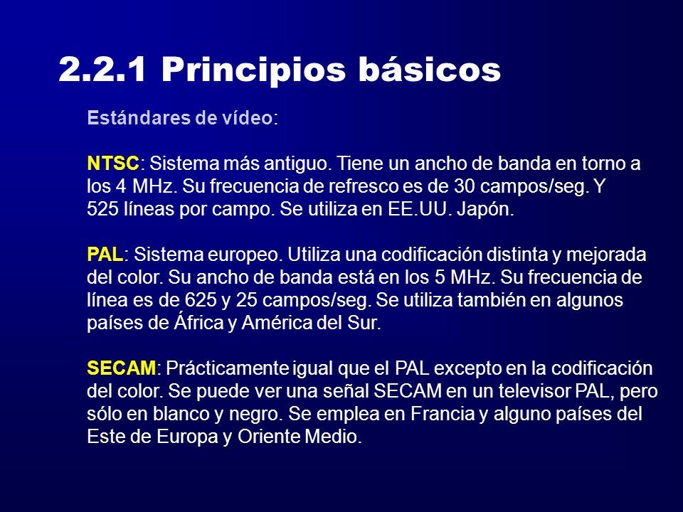 2.2.1 Principios básicos Estándares de vídeo: NTSC: Sistema más antiguo. Tiene un ancho de banda en torno a los 4 MHz. Su frecuencia de refresco es de