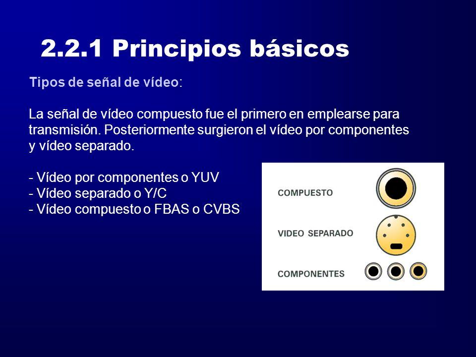 2.2.1 Principios básicos Tipos de señal de vídeo: Vídeo por componentes o YUV, codifica la señal RGB en tres señales distintas.