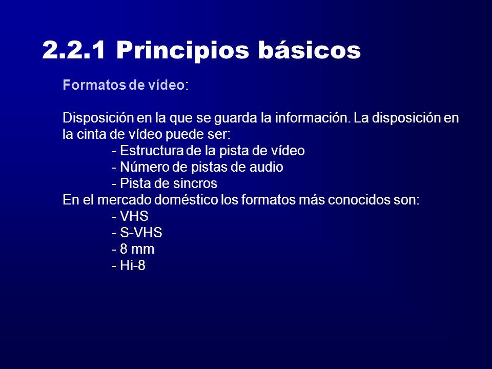 2.2.1 Principios básicos Formatos de vídeo: Disposición en la que se guarda la información. La disposición en la cinta de vídeo puede ser: - Estructur