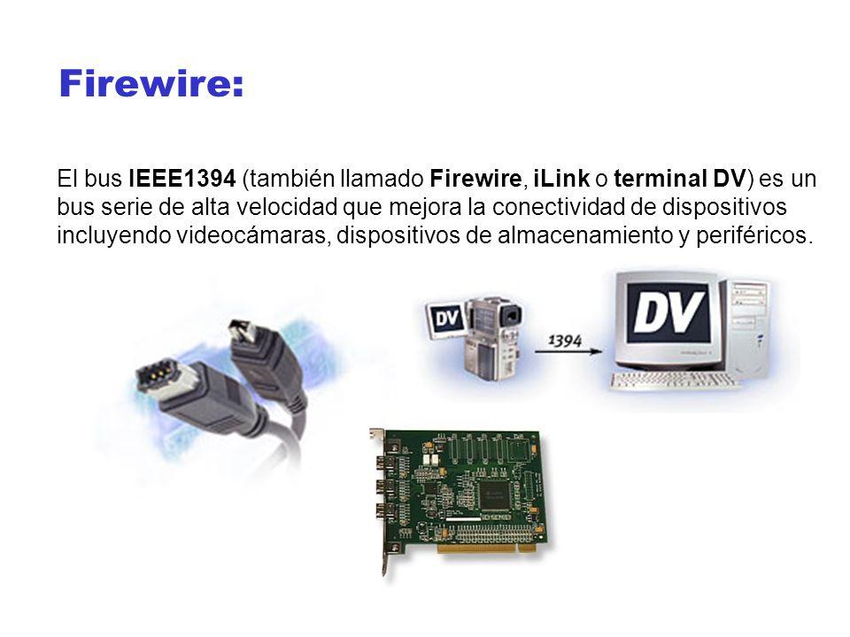 Firewire: El bus IEEE1394 (también llamado Firewire, iLink o terminal DV) es un bus serie de alta velocidad que mejora la conectividad de dispositivos