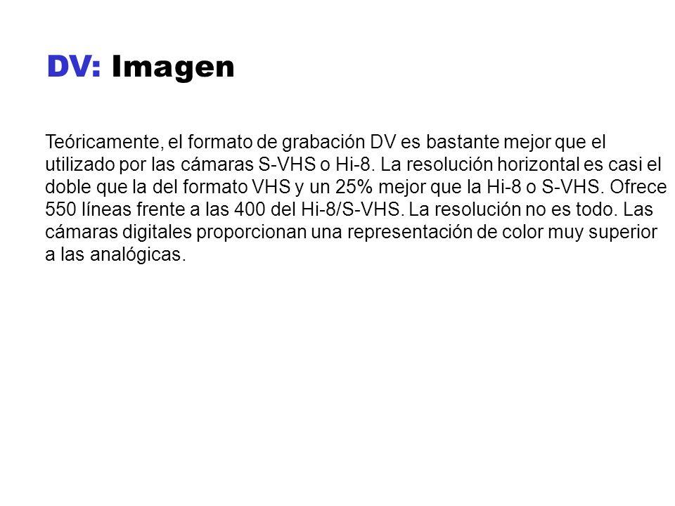 DV: Imagen Teóricamente, el formato de grabación DV es bastante mejor que el utilizado por las cámaras S-VHS o Hi-8. La resolución horizontal es casi