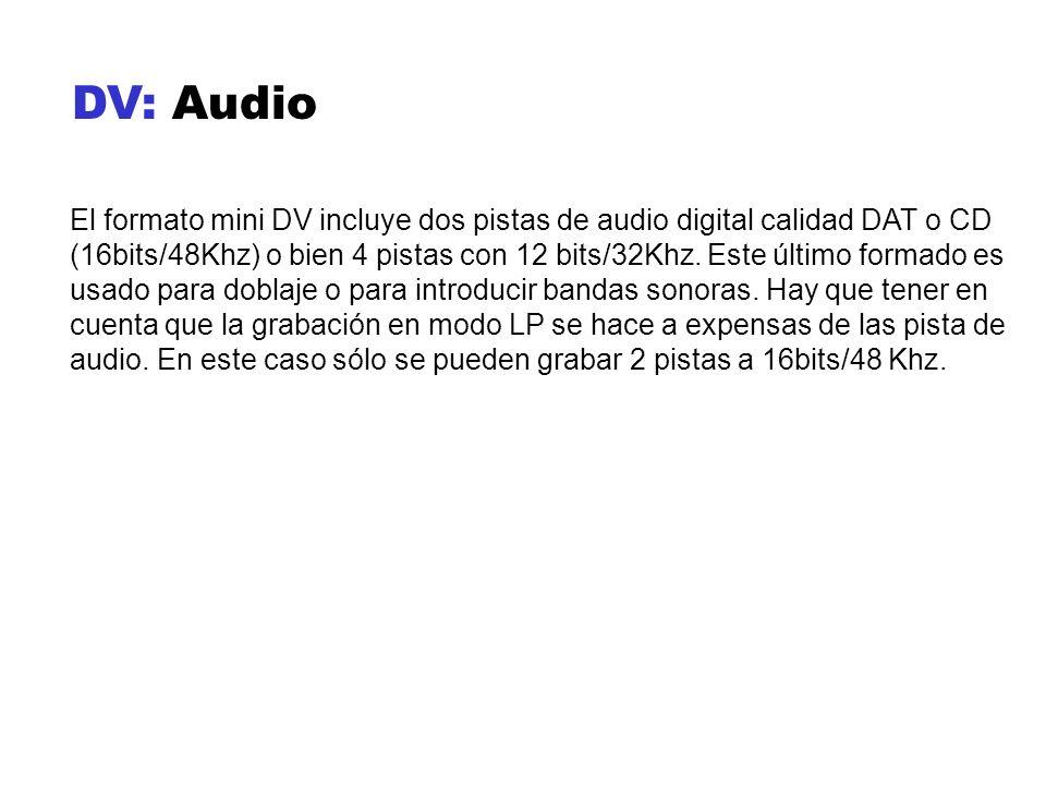DV: Audio El formato mini DV incluye dos pistas de audio digital calidad DAT o CD (16bits/48Khz) o bien 4 pistas con 12 bits/32Khz. Este último formad