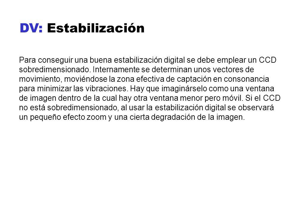 DV: Estabilización Para conseguir una buena estabilización digital se debe emplear un CCD sobredimensionado. Internamente se determinan unos vectores