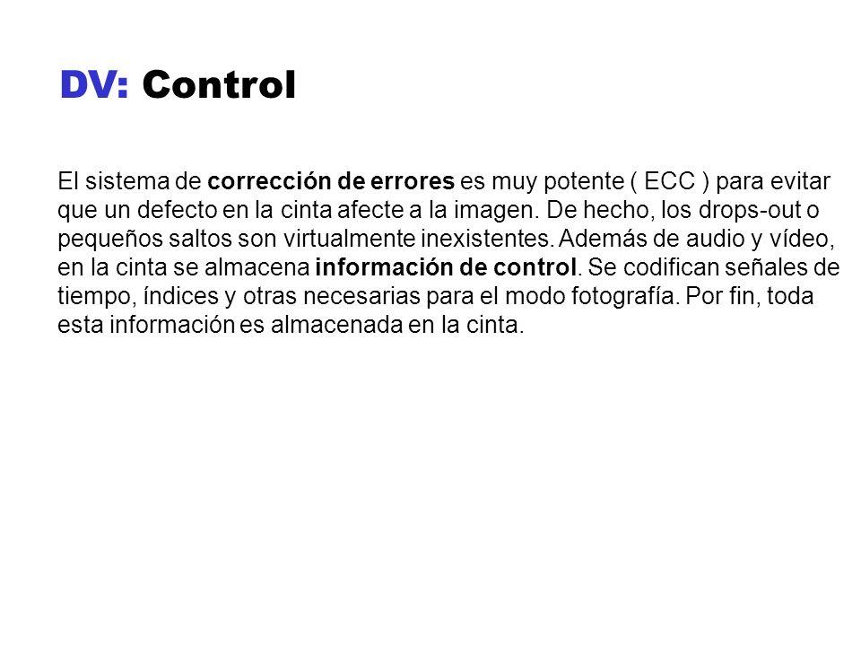 DV: Control El sistema de corrección de errores es muy potente ( ECC ) para evitar que un defecto en la cinta afecte a la imagen. De hecho, los drops-