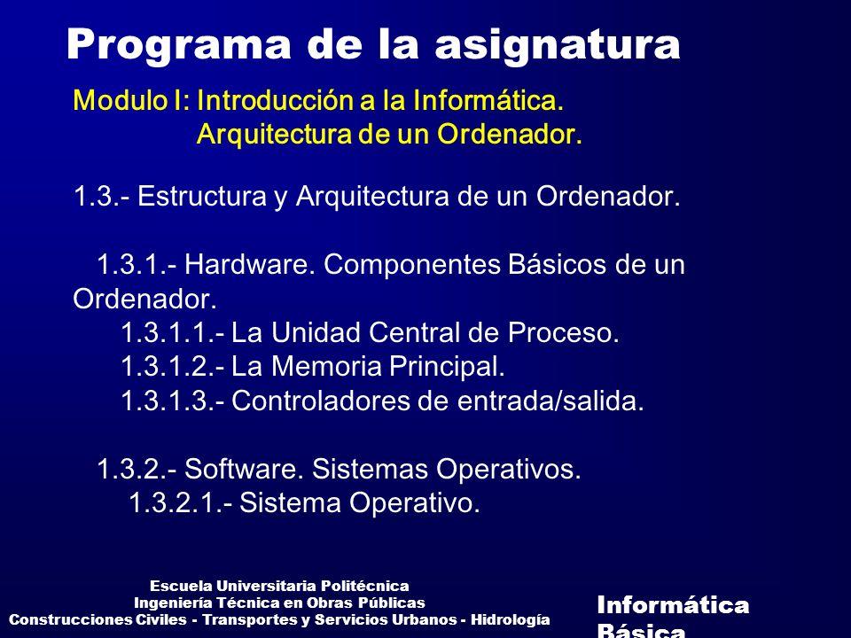 Informática Básica Escuela Universitaria Politécnica Ingeniería Técnica en Obras Públicas Construcciones Civiles - Transportes y Servicios Urbanos - H