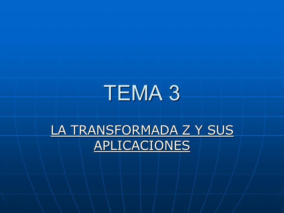 Introduccion Dada una secuencia x(n), se define su Transformada Z como: Dada una secuencia x(n), se define su Transformada Z como: (Transformada bilateral) En el caso de sistemas y señales causales: En el caso de sistemas y señales causales: (Transformada uniteral) siendo z una variable compleja: z=x+jy