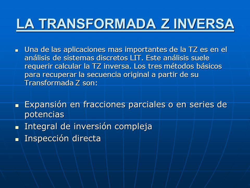 LA TRANSFORMADA Z INVERSA Una de las aplicaciones mas importantes de la TZ es en el análisis de sistemas discretos LIT. Este análisis suele requerir c