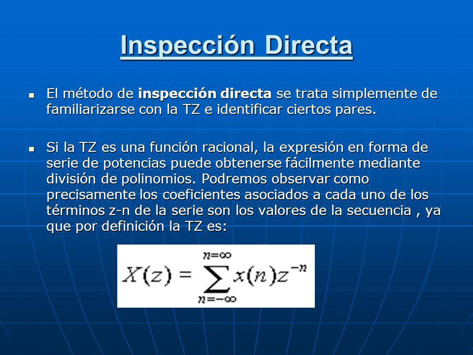 Inspección Directa El método de inspección directa se trata simplemente de familiarizarse con la TZ e identificar ciertos pares. El método de inspecci